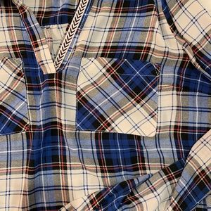 SKIES ARE BLUE WOMENS BLUE PLAID SIZE MD